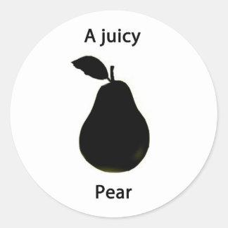 Una pera jugosa pegatina redonda
