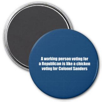 Una persona de funcionamiento que vota por un repu imanes