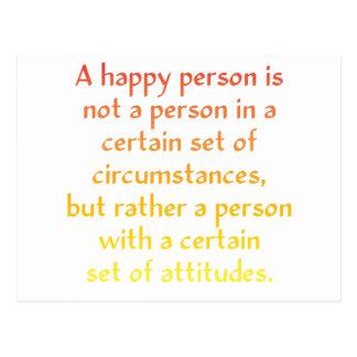 Una persona feliz no es una persona en cierto postal