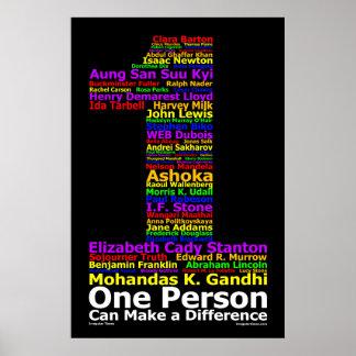 Una persona puede diferenciar (el poster) póster