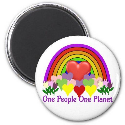 Una personas del planeta uno imán redondo 5 cm