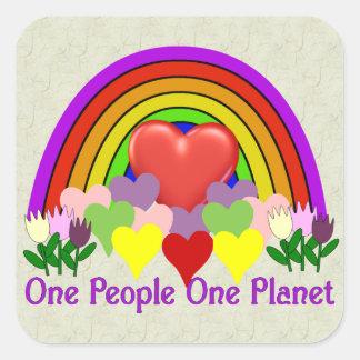 Una personas del planeta uno pegatina cuadradas