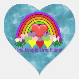 Una personas del planeta uno pegatina en forma de corazón