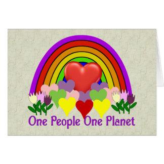 Una personas del planeta uno tarjeta de felicitación