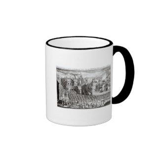 Una perspectiva de la ciudad y del puerto tazas de café