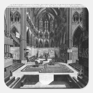 Una perspectiva de la iglesia colegial del interio pegatina cuadradas