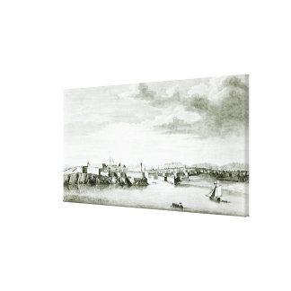 Una perspectiva del castillo de Moro y de la ciuda Lienzo Envuelto Para Galerías