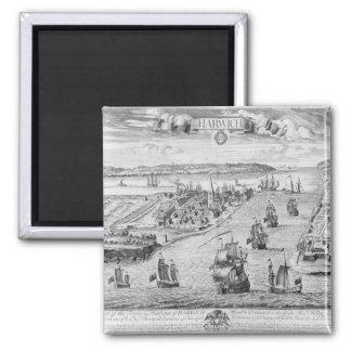 Una perspectiva del Towne y del puerto de Harwich Imán Cuadrado