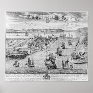 Una perspectiva del Towne y del puerto de Harwich Póster