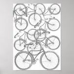 Una pila de bicicletas impresiones