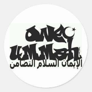 Una pintada de Ummah Pegatina Redonda