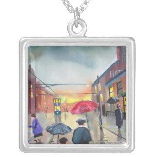 una pintura de escena de la calle del día lluvioso colgantes personalizados