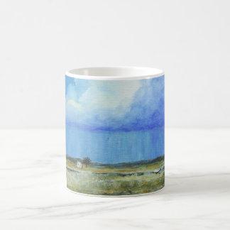 Una pintura de paisaje perfecta del arte abstracto taza de café