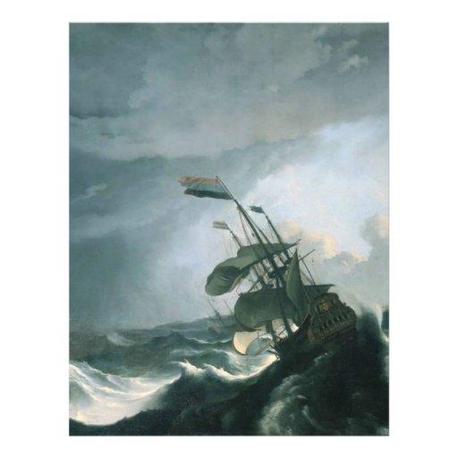 Una pintura famosa de un mar tempestuoso tarjeton