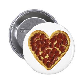 """Una """"pizza"""" mi corazón pin redondo de 2 pulgadas"""