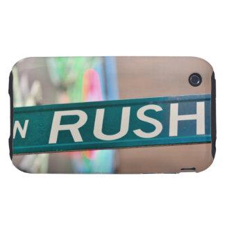 Una placa de calle de la calle de la precipitación tough iPhone 3 cárcasa