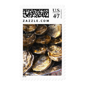 Una placa de ostras sello postal