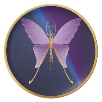 Una placa Mariposa-oscura púrpura grande Plato De Cena