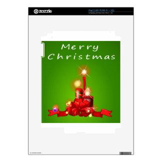 Una plantilla del navidad con las velas skin para el iPad 2