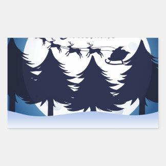 Una plantilla del navidad con una luna, los pegatina rectangular
