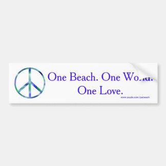 Una playa, un mundo, una pegatina para el pegatina para auto