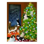 Una postal felina del navidad de la familia