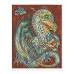 Una postal segura del dragón y del bluebird de la