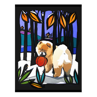 Una postal TEMPRANA del perro chino de la NIEVE