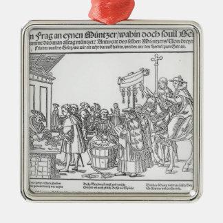 Una pregunta a un Mintmaker, c.1500 Adorno Navideño Cuadrado De Metal