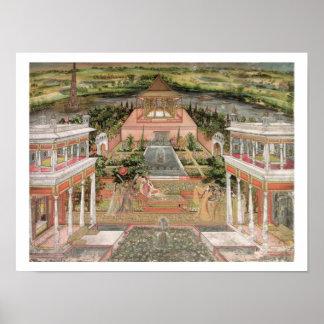 Una princesa de Mughal en su jardín (aguazo en el  Póster