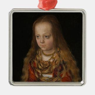 Una princesa de Sajonia, c.1517 (aceite en el Adorno Navideño Cuadrado De Metal
