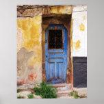 Una puerta azul vieja beautifuly rústica en CRETA, Posters