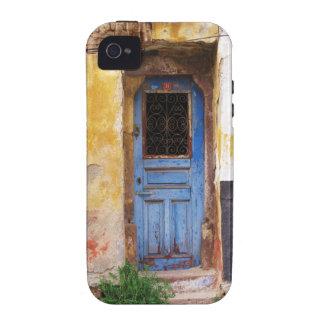 Una puerta azul vieja rústica hermosa en CRETA, Gr iPhone 4/4S Carcasas