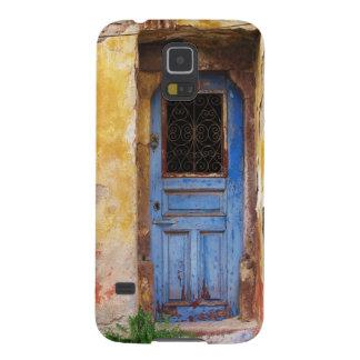 Una puerta azul vieja rústica hermosa en CRETA, Gr Carcasas Para Galaxy S5