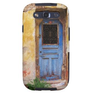 Una puerta azul vieja rústica hermosa en CRETA, Gr Galaxy S3 Fundas