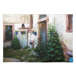 Una puerta azul vieja rústica hermosa en CRETA, Gr Mantel Individual