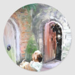 Una puerta Closes_PAinting_Equalized.jpg Pegatina Redonda