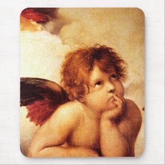 Una querube, detalle del Sistine Madonna - Raphael Alfombrillas De Ratones