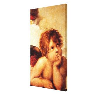 Una querube, detalle del Sistine Madonna - Raphael Lienzo Envuelto Para Galerias