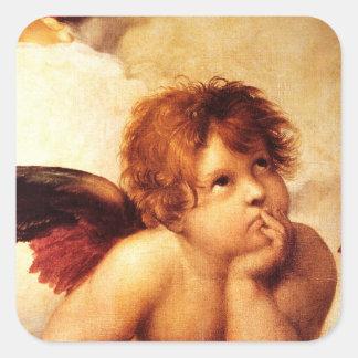 Una querube, detalle del Sistine Madonna - Raphael Pegatina Cuadrada