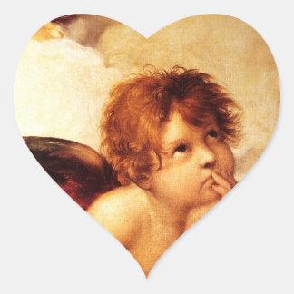 Una querube, detalle del Sistine Madonna - Raphael Pegatina En Forma De Corazón
