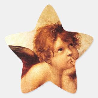 Una querube, detalle del Sistine Madonna - Raphael Pegatina En Forma De Estrella