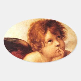 Una querube, detalle del Sistine Madonna - Raphael Pegatina Ovalada