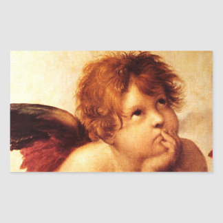 Una querube, detalle del Sistine Madonna - Raphael Pegatina Rectangular