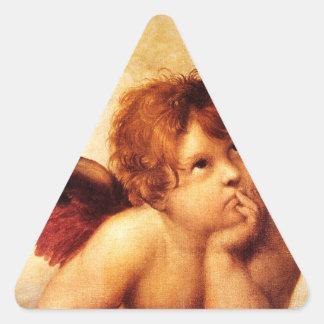 Una querube, detalle del Sistine Madonna - Raphael Pegatina Triangular