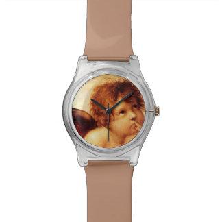 Una querube, detalle del Sistine Madonna - Raphael Reloj