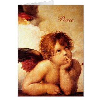 Una querube, detalle del Sistine Madonna - Raphael Tarjeta De Felicitación