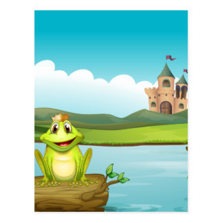 Una rana con una corona en el río tarjeta postal