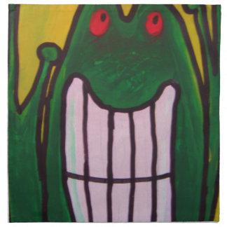 Una rana de risa le está mirando que la vida es bu servilleta imprimida