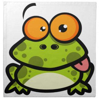 Una rana manchada linda y verde con los ojos anara servilletas de papel